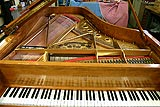 Closeup top view of German Steinway and Sons grand piano